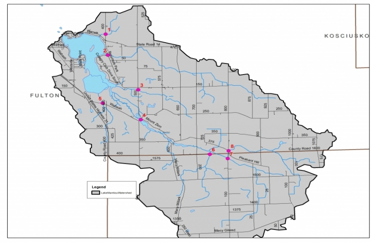 PROPOSED SAMPLING SITES FOR THE BIOLOGICAL STUDY OF THE LAKE MANITOU WATERHED